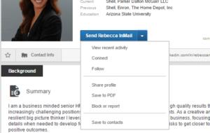 LinkedIn send inmail button