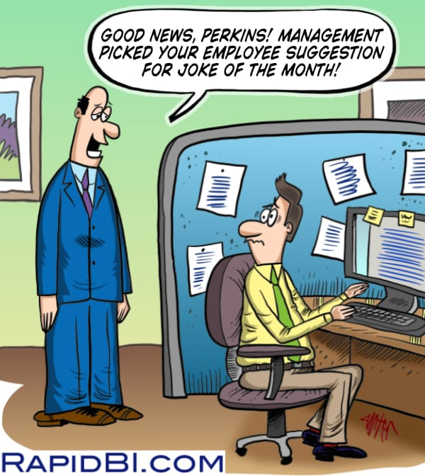 Manager talking to employee at their desk - joke of the month cartoon