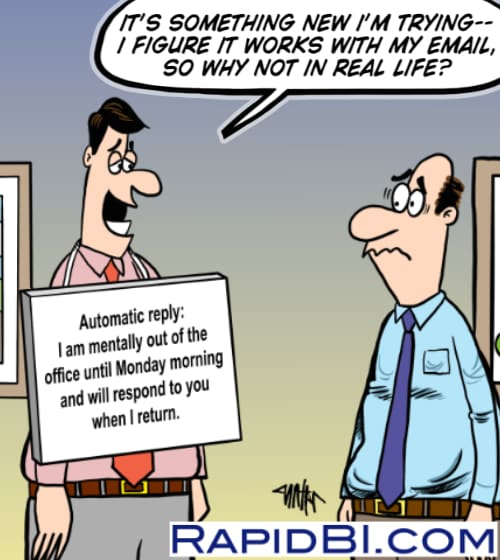 live out of office reply cartoon - man with notice around his neck